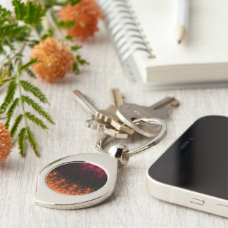 Glowing Fractal Dusk - gold, black and fuschia Silver-Colored Swirl Key Ring