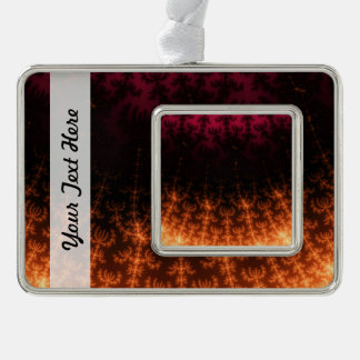 Glowing Fractal Dusk - gold, black and fuschia Silver Plated Framed Ornament