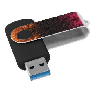 Glowing Fractal Dusk - gold, black and fuschia Swivel USB 3.0 Flash Drive