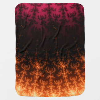 Glowing Fractal Dusk - gold, black and fuschia Baby Blanket