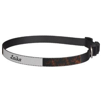 Glowing Fractal Dusk - gold, black and fuschia Dog Collar
