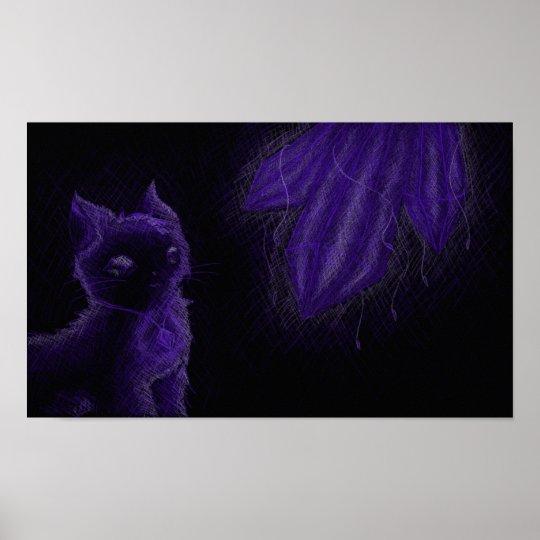 Glowing gems purple cat poster