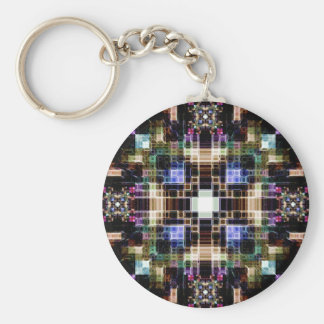 Glowing Geometric Cubes Basic Round Button Key Ring