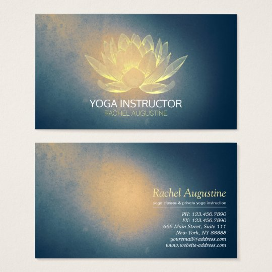 Glowing Gold Lotus and Blue Grunge Yoga Instructor