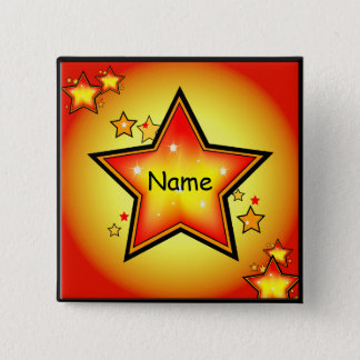 Glowing Gold/Orange Star Custom Square Button