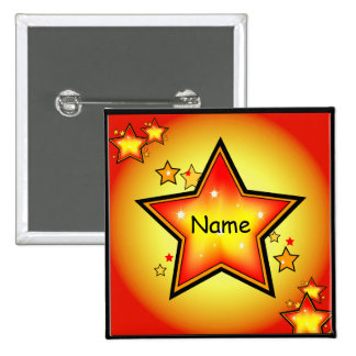 Glowing Gold/Orange Star Custom Square Button