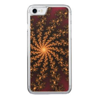 Glowing Golden Fractal Explosion on Burgundy Carved iPhone 7 Case