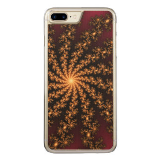 Glowing Golden Fractal Explosion on Burgundy Carved iPhone 7 Plus Case