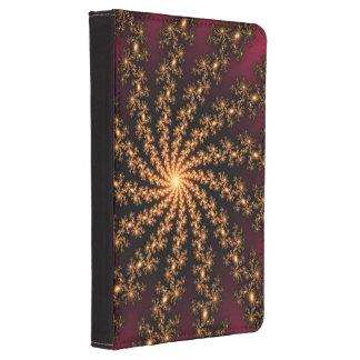 Glowing Golden Fractal Explosion on Burgundy Kindle Case