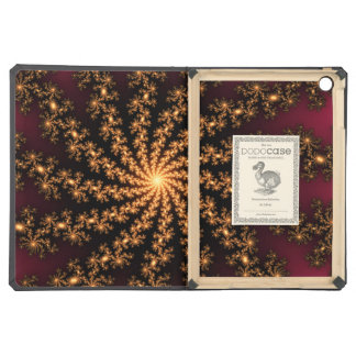 Glowing Golden Fractal Explosion on Burgundy Case For iPad Air