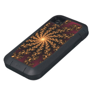 Glowing Golden Fractal Explosion on Burgundy iPhone4 Case