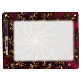 Glowing Golden Fractal Explosion on Burgundy Dry Erase Board With Keychain Holder