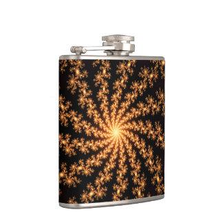 Glowing Golden Fractal Explosion on Burgundy Flasks