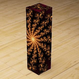 Glowing Golden Fractal Explosion on Burgundy Wine Bottle Box