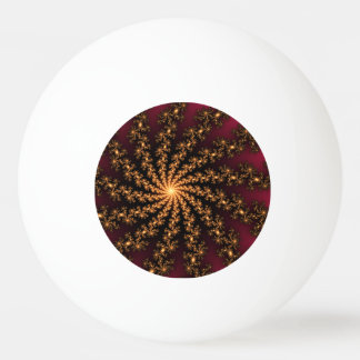 Glowing Golden Fractal Explosion on Burgundy Ping Pong Ball