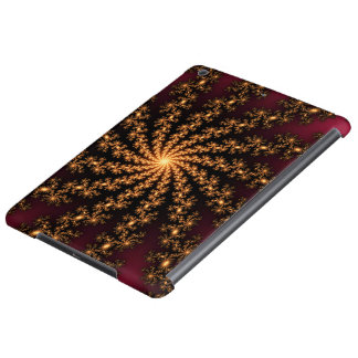 Glowing Golden Fractal Explosion on Burgundy iPad Air Case