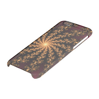 Glowing Golden Fractal Explosion on Burgundy iPhone 6 Plus Case