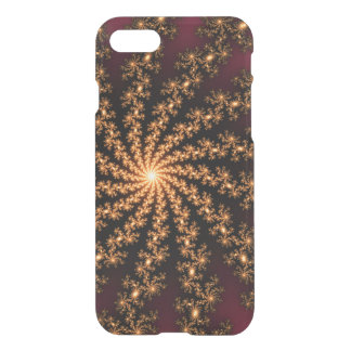 Glowing Golden Fractal Explosion on Burgundy iPhone 7 Case