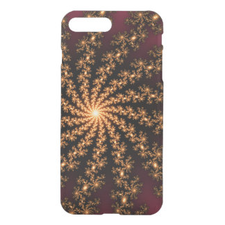 Glowing Golden Fractal Explosion on Burgundy iPhone 7 Plus Case