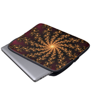 Glowing Golden Fractal Explosion on Burgundy Laptop Sleeves