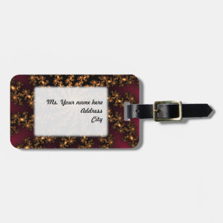 Glowing Golden Fractal Explosion on Burgundy Tags For Bags