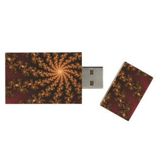 Glowing Golden Fractal Explosion on Burgundy Wood USB 3.0 Flash Drive