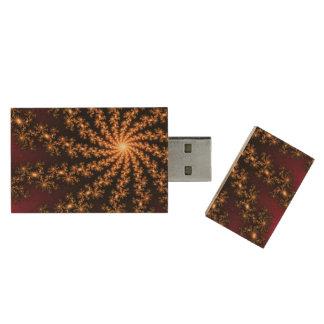 Glowing Golden Fractal Explosion on Burgundy Wood USB 3.0 Flash Drive
