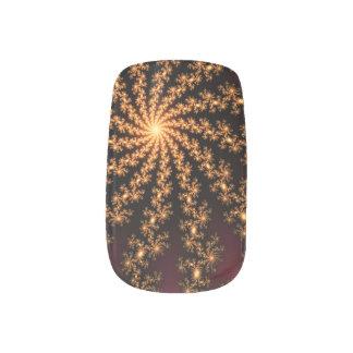 Glowing Golden Fractal Explosion on Burgundy Minx® Nail Art
