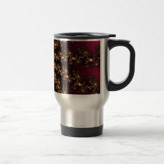 Glowing Golden Fractal Explosion on Burgundy Mugs