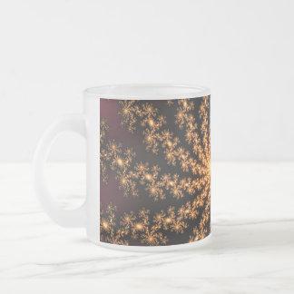 Glowing Golden Fractal Explosion on Burgundy Coffee Mug