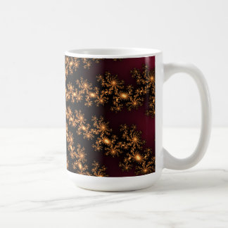 Glowing Golden Fractal Explosion on Burgundy Coffee Mugs