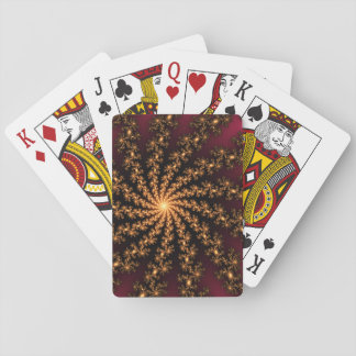 Glowing Golden Fractal Explosion on Burgundy Playing Cards