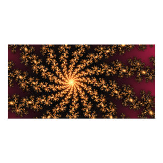 Glowing Golden Fractal Explosion on Burgundy Personalised Photo Card