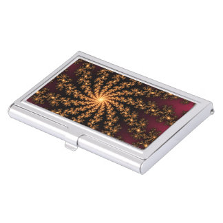 Glowing Golden Fractal Explosion on Burgundy Business Card Cases