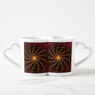 Glowing Golden Fractal Explosion on Burgundy Lovers Mugs