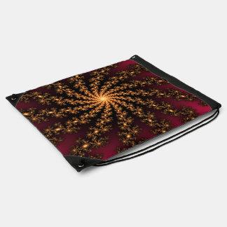 Glowing Golden Fractal Explosion on Burgundy Drawstring Bag