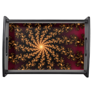 Glowing Golden Fractal Explosion on Burgundy Service Trays