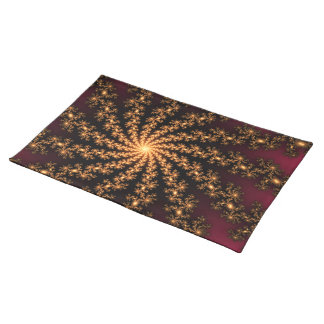 Glowing Golden Fractal Explosion on Burgundy Place Mats