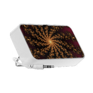 Glowing Golden Fractal Explosion on Burgundy iPod Speakers