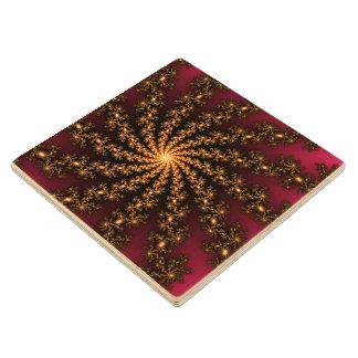 Glowing Golden Fractal Explosion on Burgundy Wood Coaster