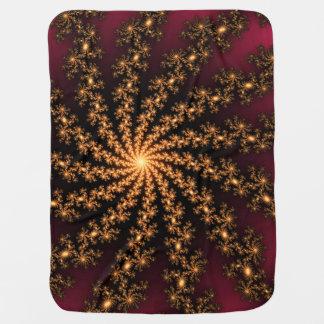 Glowing Golden Fractal Explosion on Burgundy Receiving Blanket