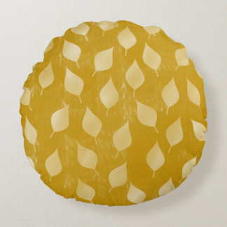 Glowing Golden Leaves Round Cushion