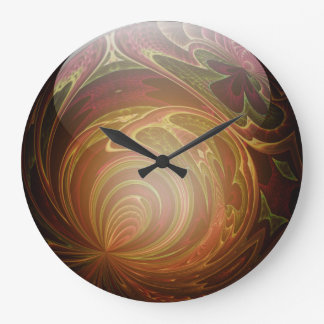 Glowing Golden, Textured Glass Marble Abstract Wall Clocks