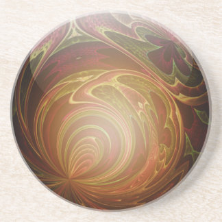 Glowing Golden, Textured Glass Marble Abstract Drink Coaster