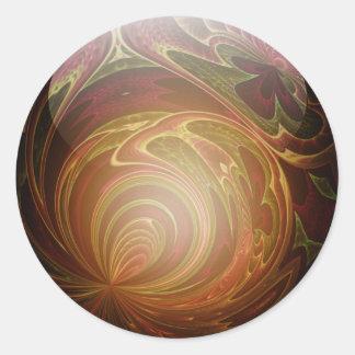 Glowing Golden, Textured Glass Marble Round Sticker