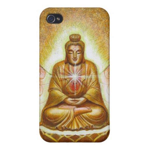 Glowing Golden Zen Buddha iPhone 4 Case