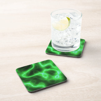 Glowing Green Abstract Electricity Coasters