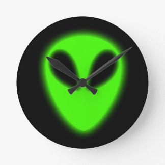 Glowing Green Alien Wall Clock