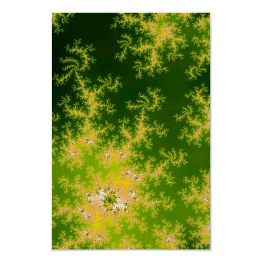 Glowing Green Fractal Poster