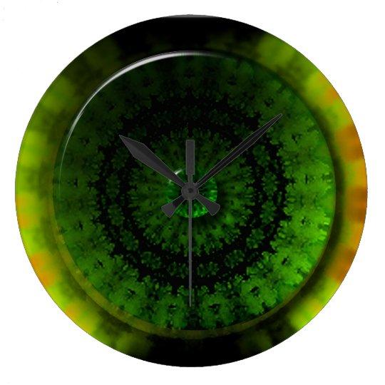 Glowing Green Luminosity Round (Large) Wall Clock